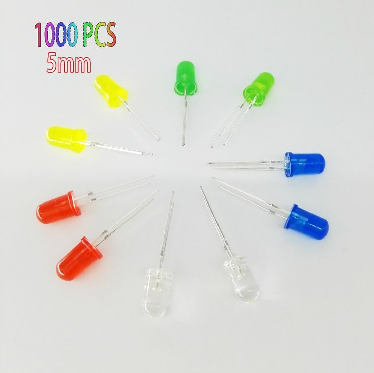 1000pcs 5mm LED diode Light Assorted Kit DIY LEDs Set White Yellow Red Green Blue free shiiping electronic diy kit