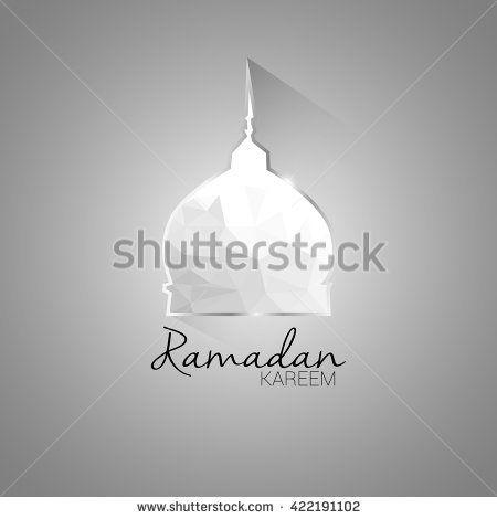 Ramadan Kareem greeting card with low poly design