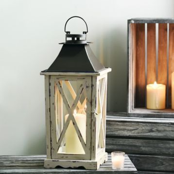 Distressed Cream Lantern | Kirklands