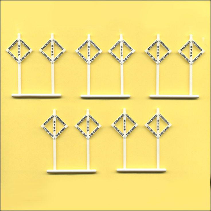 HO Scale Diamond Crossing Signs, Package of 10