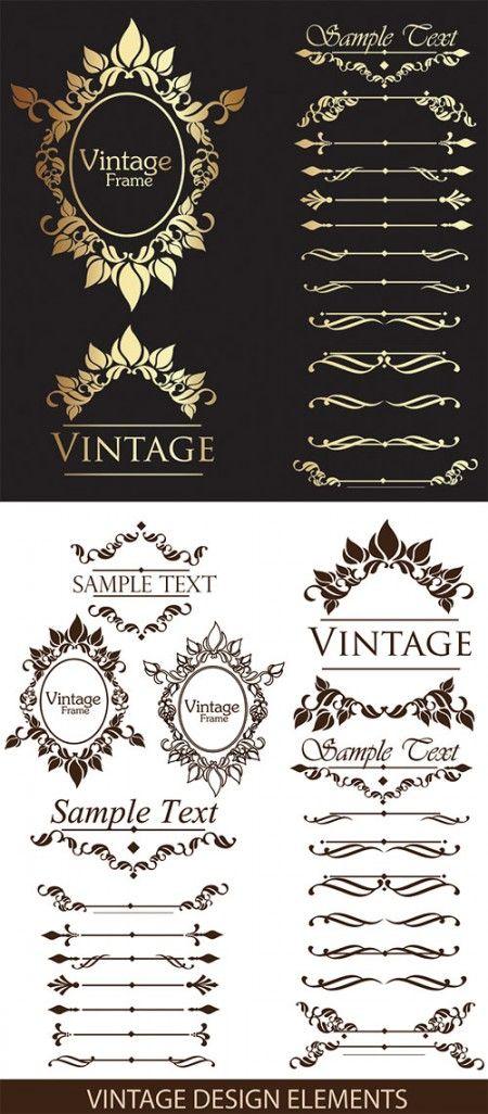 Vintage frame design element 450x1026 ゴージャスな飾り罫・フレーム・ラベル 無料 ダウンロード   Free Style