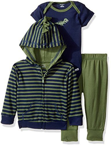 Gerber Baby Boy 3 Piece Hooded Jacket, Bodysuit and Pant Set, dino, 6-9 Months