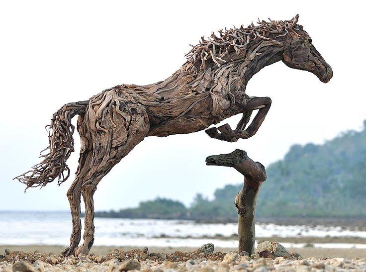Incredibly immersive work of art. Artist Creates Breathtaking Horse Sculptures Out Of Driftwood. Sculptor James Doran-Webb