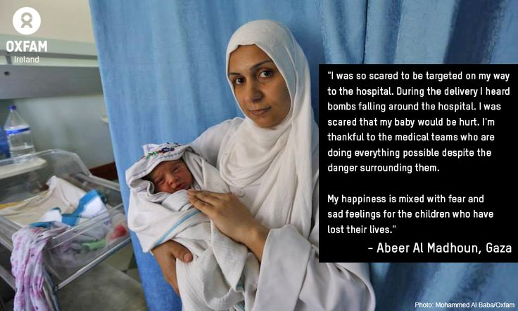 In Gaza, over 20 health facilities have been damaged, including 2 hospitals, 4 clinics, 1 care facility for the disabled and 4 ambulances. However, despite continued violence and rising causalities, the Oxfam-supported Al Awda Hospital continues to deliver babies. When Abeer Al Madhoun went into labour, she travelled to Al Awda Hospital, fearing for her life but determined to protect her unborn child. https://www.oxfamireland.org/blog/child-killed-every-hour-gaza