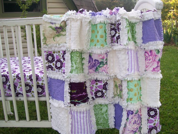 Crib Rag Quilt Aviary 2 Plum Pink Purple Lavender by CottageDome