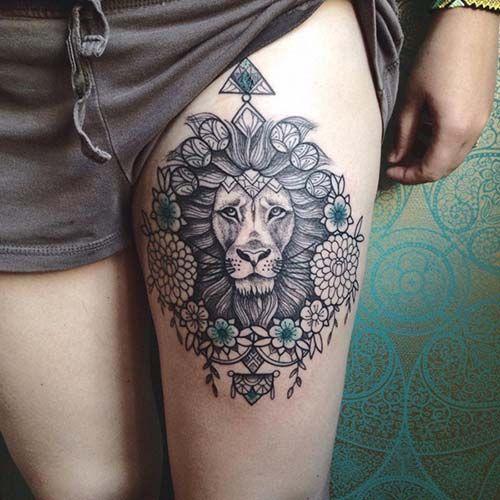woman leg floral lion tattoo kadın bacak çiçekli aslan dövmesi