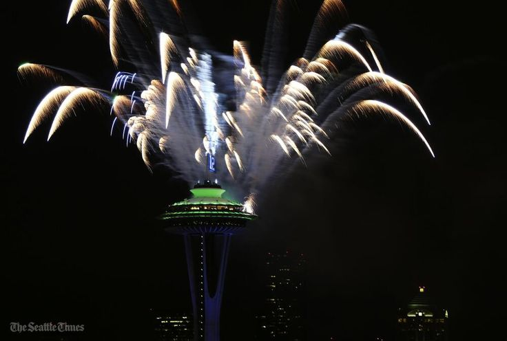 Fireworks from Seattle's Space Needle mark the Seahawks' Super Bowl win - @SeaTimesPhoto