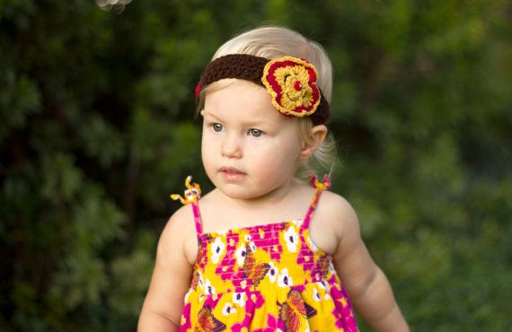 Floral baby headband fall baby hair band toddler by HandmadeTrend