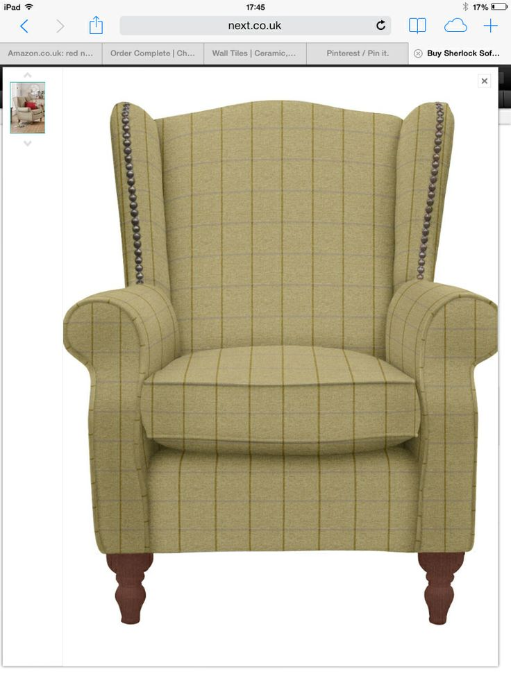 Sherlock Chair In Smart Check Chatham Green Living Room