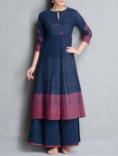 Indigo-Red Block Printed Pleated & Tie-Up Detailed Cotton Kurta