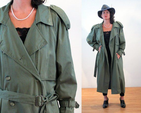 Vintage Trench Coat 70s clothes 70s Clothing Lined Trench Coat Blue Double Breasted Small 70s Jacket Retro Vintage Clothing