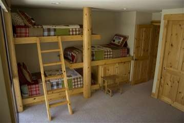 triple bunkLake Houses, Ideas, Lakes House, Kids Room, Bedrooms, Triple Bunk Beds, Bunk Room, Boys Room, Bunkbeds