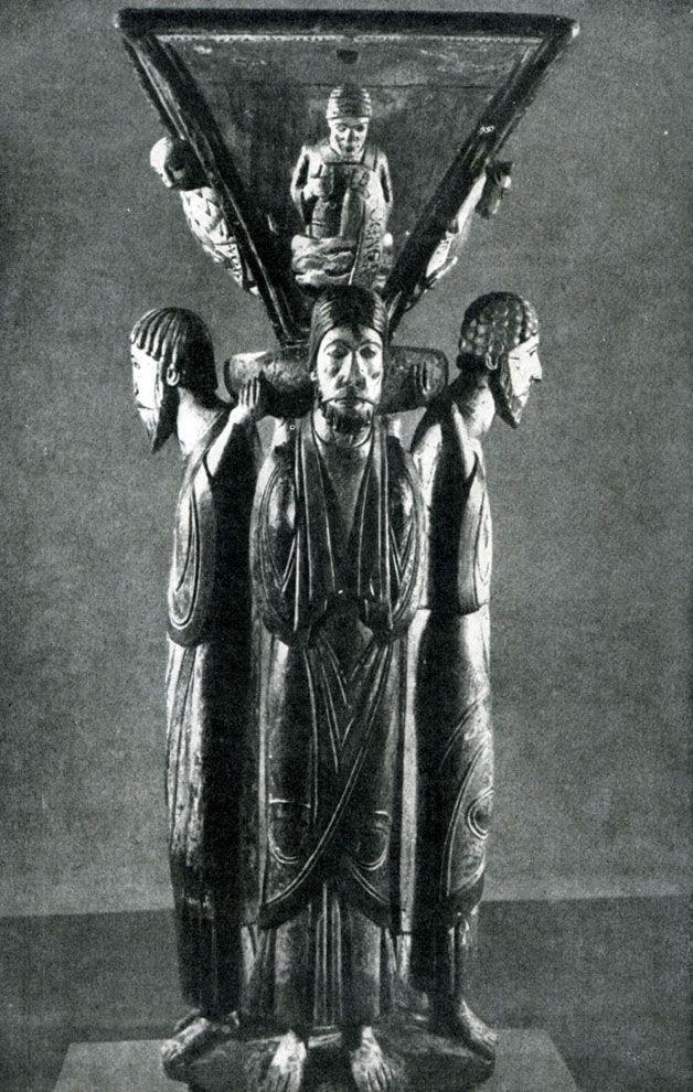 254.  Пульт для чтения из монастыря Альпирсбах с фигурами четырех евангелистов. 3-я четверть 12 в. Фрейденштадт, городская церковь.