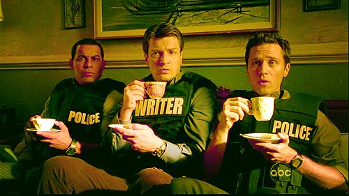 """Proper Detectives. I still just love that he has a bullet-proof vest that says """"Writer"""""""