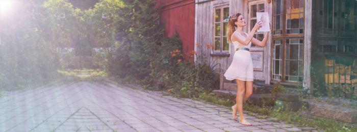 Beauty and the Beast from Disney inspired editorial fashion shoot. Blue silk ribbon in braided hair and a gorgeous white dress.  Model; Karoline - Team Models  Stylist; Katrine - Lash Bar Oslo  Jewellery; Vinterhoff  Photo; Jenny Hoff