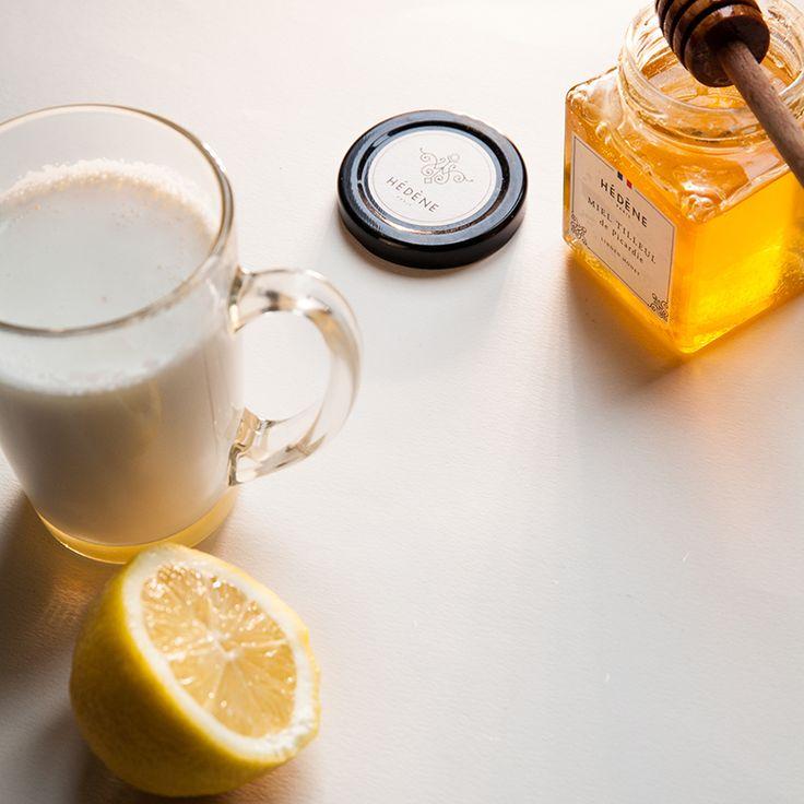 Lait chaud citron au miel de tilleul Hédène
