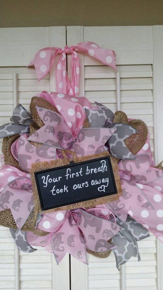Welcome Baby Wreath Baby Girl Nursery by Underthekentuckysun