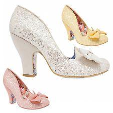 Irregular Choice Nick Of Time Glamorous Glitter High Heel Bow Wedding Shoes