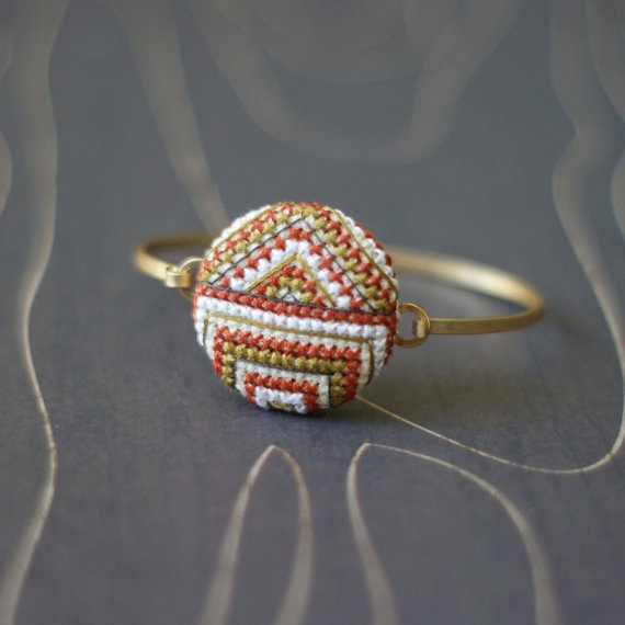 Modern Art Deco cross stitch bracelet by TheWerkShoppe on Etsy, $38.00