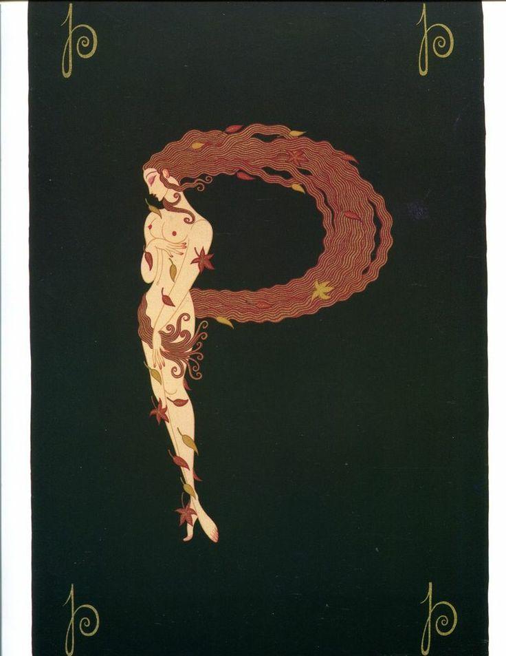 Erte Art Deco Print Book Plate Alphabet Letter P #ArtDeco