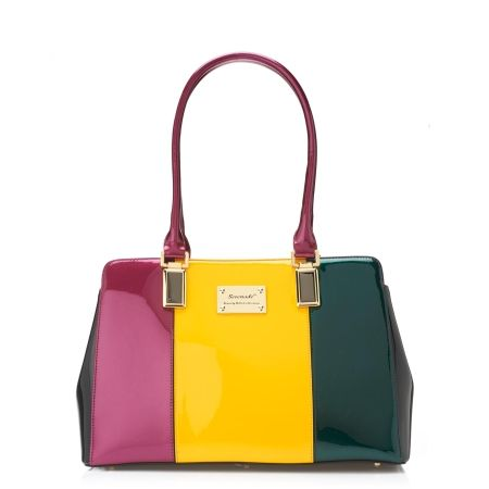 Serenade Bright Block Patent Leather Handbag