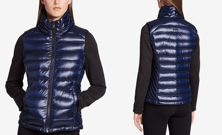 Calvin Klein Performance Down-Filled Puffer Jacket. A quilted body keeps the core cozy, while slim-fitting arms let you move in this chic down-filled puffer jacket from alvin Klein Performance. Sleek seaming skims the sides for a flattering look.