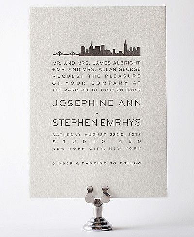 New York City Skyline Letterpress Wedding Invitation