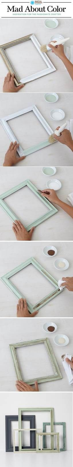 Make beautiful frames with Vintage Decor Paint and Wax from #marthastewartcrafts