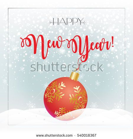 Merry Christmas and Happy New Year greeting card background with Christmas red ball, falling snowflakes. Winter Holiday decoration. Vector illustration.