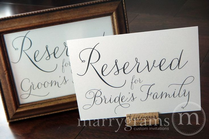 Reserved for Bride or Groom's Family Sign Table Card - Wedding Reception Seating Signage (Set of 2) Matching Table Numbers Available. $8.00, via Etsy.