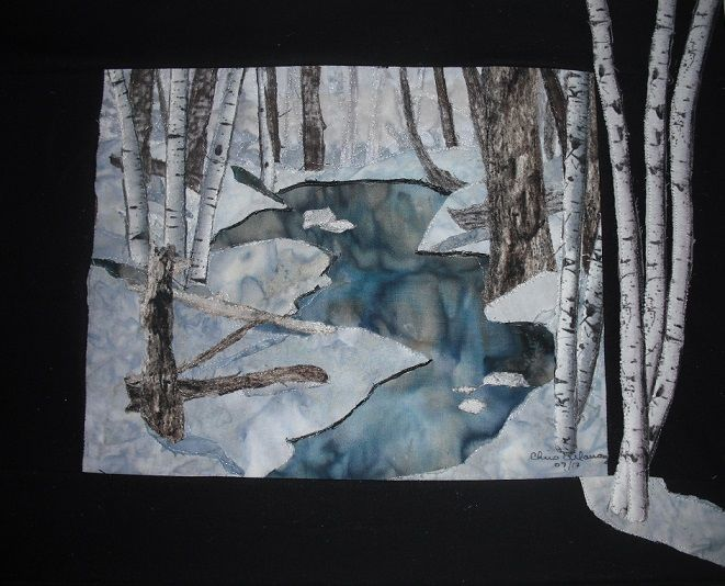Collage birches with snow and frozen water. Chris Allaway