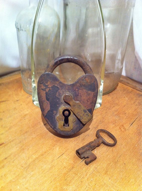 Antique Heart Shaped Lock with Key by RustySprockets on Etsy