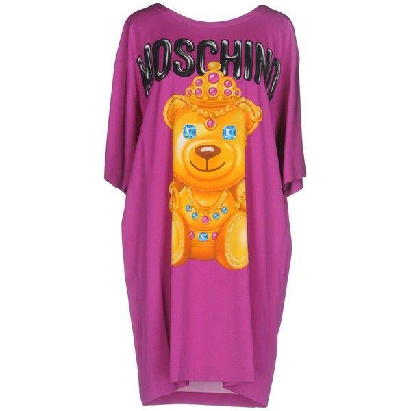 Moschino Couture Short Dress ($610) ❤ liked on Polyvore featuring dresses, mauve, purple dresses, short sleeve dress, short dresses, short purple dresses and mini dress