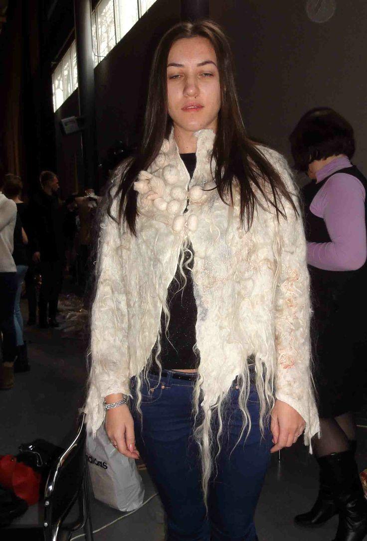 Silk , wool , nuno felted dress, for sale