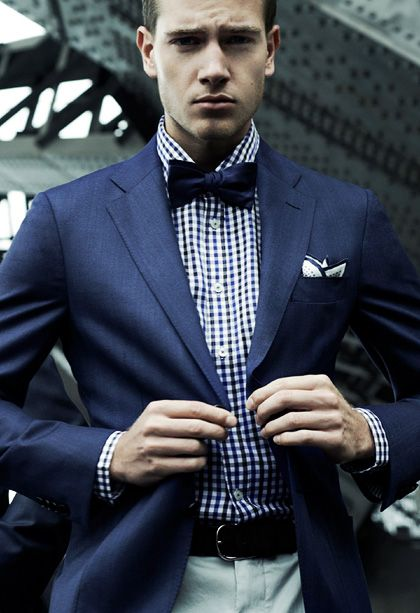 Super chic in a checkered shirt under a navy jacket and for Navy suit checkered shirt