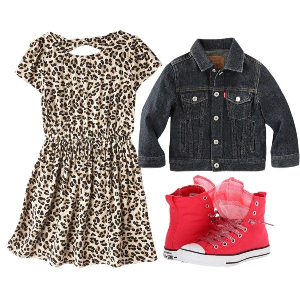 Cheetah print little girl dress with denim jacket and red Chucks. Adorable little girl outfit. Little girl fashion. Little fashionista.