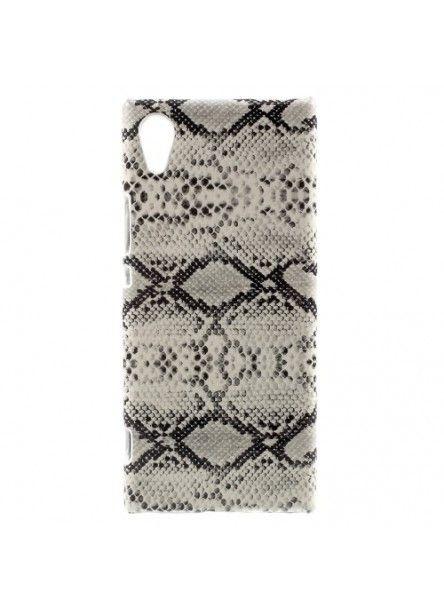 Coque Sony Xperia XA1 Imitation Peau de Serpent - Blanc
