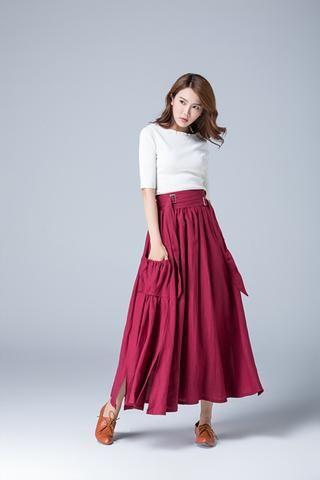 falda roja vino, falda de lino, falda maxi 1772