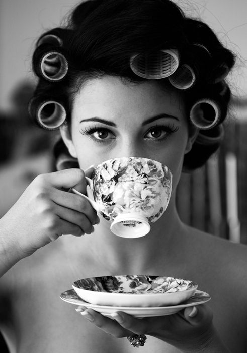 rollers eyelashes and tea