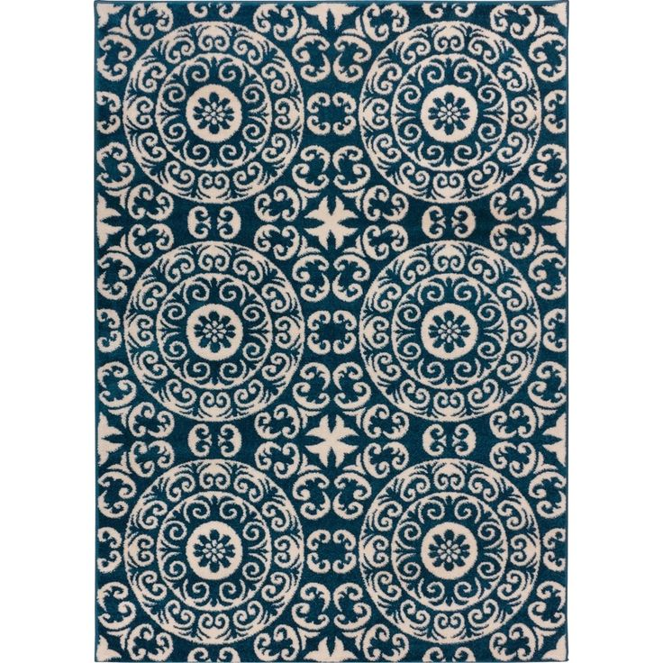 Well Woven Bright Trendy Twist Mediterranean Tile Scrolls Navy Blue Air Twisted Polypropylene Rug (7'10 x 10'6) - Overstock™ Shopping - Great Deals on 7x9 - 10x14 Rugs