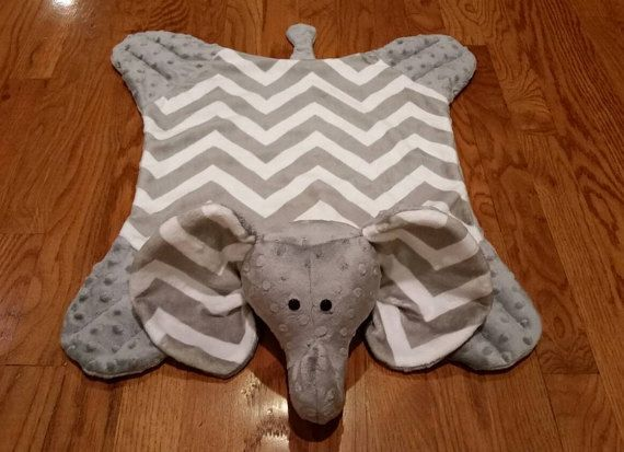 Chevron grey and white elephant minky snuggle blanket/toy/stuffed animal/baby gift/children