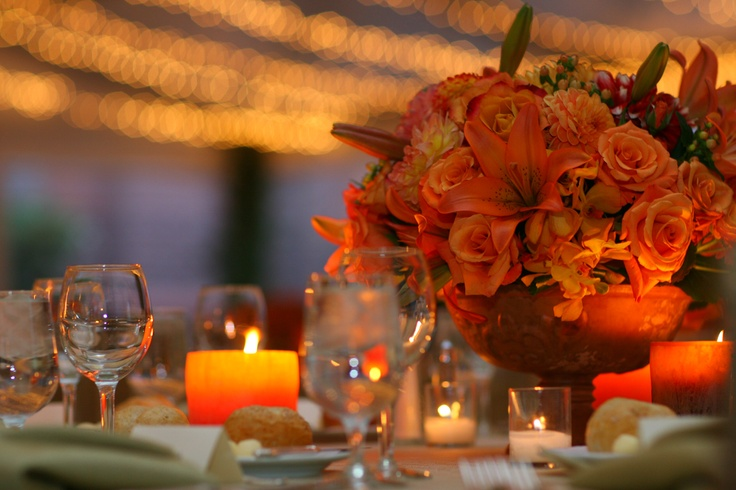 Tribute Dinner at Terrace Room- terra cotta compotes will hold centerpieces} low and lush, so as not to impede conversation