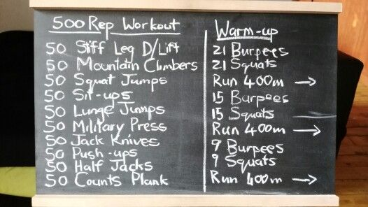 The 500 rep workout should be divided into 5 sets of 10 reps each. Do a 400m run after each set with 1min rest. Go heavy on the weights , it is only 10 reps at a time
