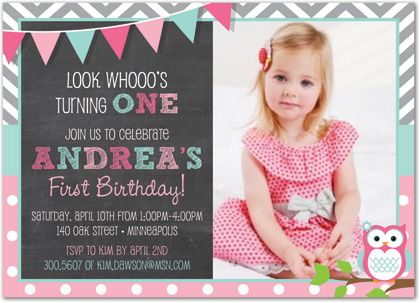 36 best First Birthday Invitations Girl images on Pinterest