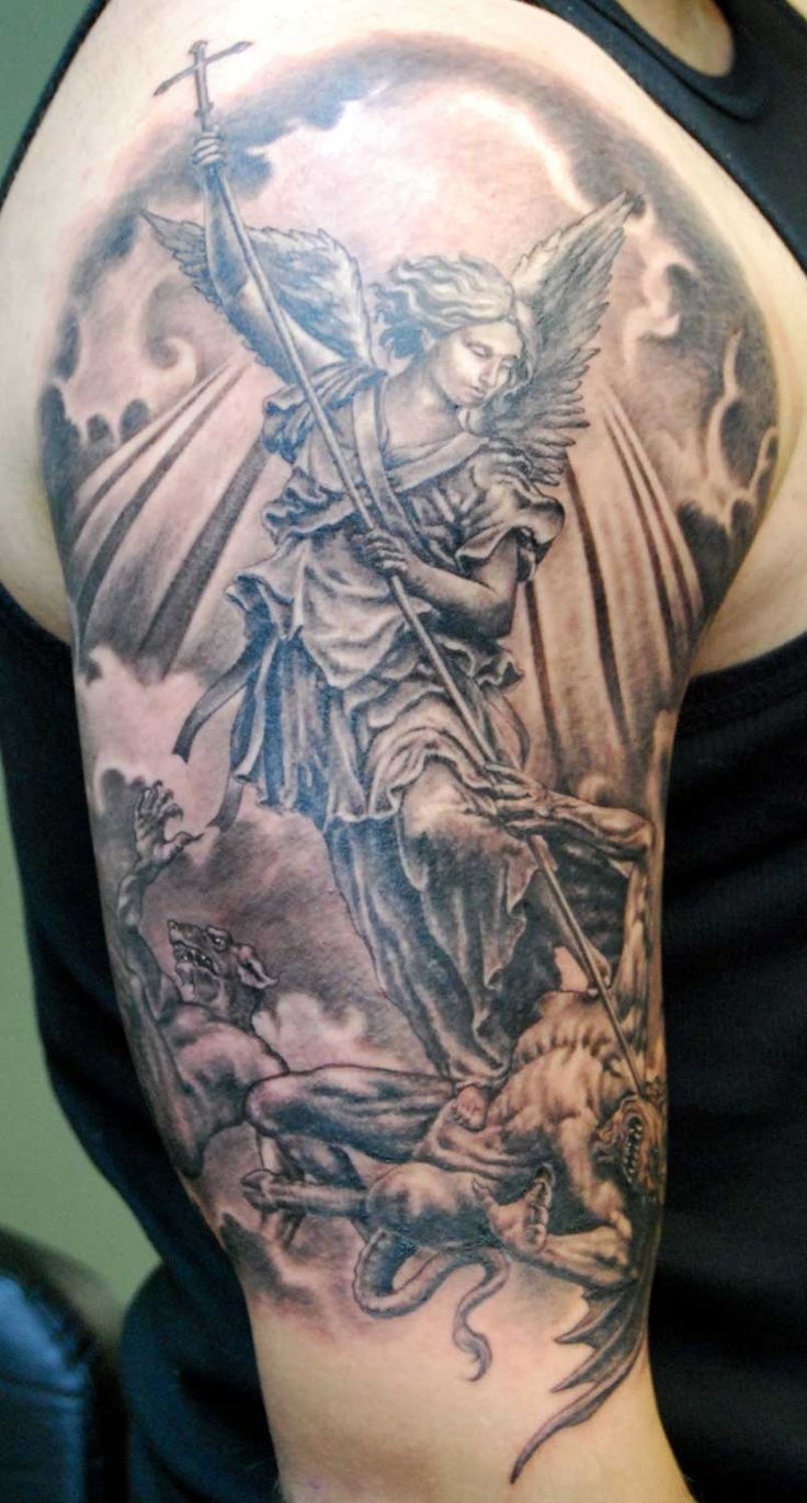 Archangel Grey Ink Tattoo On Right Half Sleeve