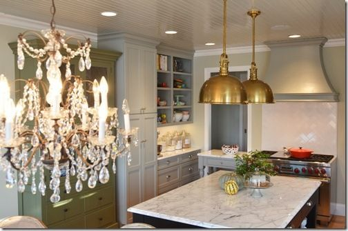 gorgeous!: Cabinets Colors, Lights Fixtures, Grey Cabinets, Marbles Countertops, Gray Cabinets, Pendants Lights, Benjamin Moore, Gray Kitchens Cabinets, Brass Pendants