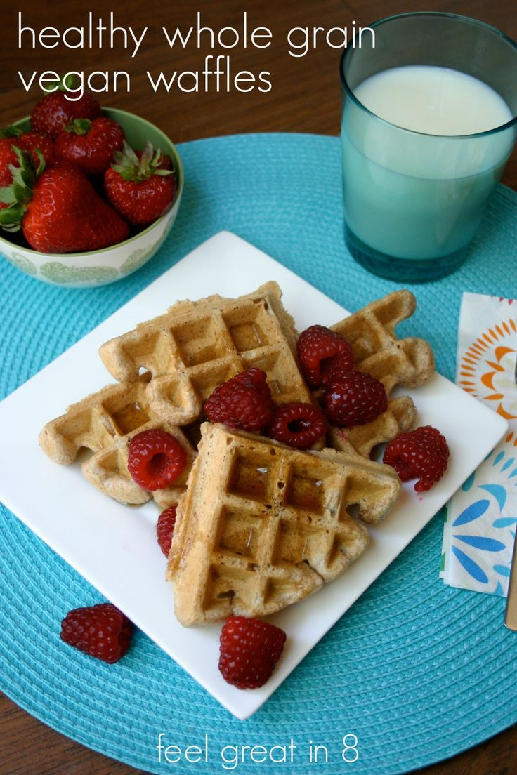 Healthy Whole Grain Vegan Waffles - Feel Great in 8. These waffles are quick and easy to throw together and taste too good to be healthy! #vegan #breakfast #recipe