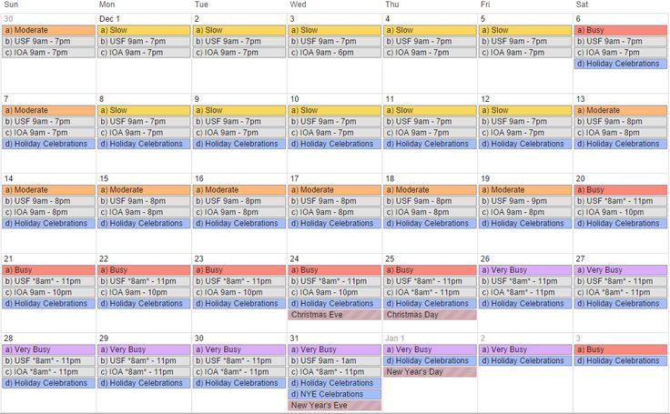12-month Universal Orlando crowd calendar for Universal Studios Florida (USF) and Islands of Adventure (IOA).