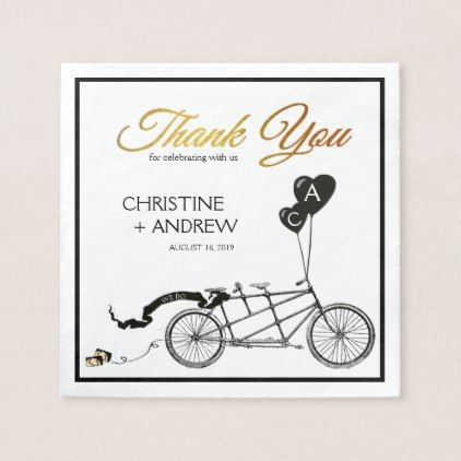 Tandem Bicycle Romantic Casual Wedding Custom Napkin - romantic wedding love couple marriage wedding preparations