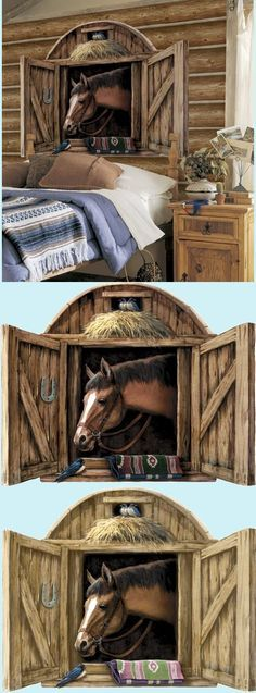 Horse Stable Door Peel And Stick Wall Mural   Wall Sticker Outlet